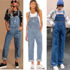 Vintage 90s Bill Blass Jean Denim Overall Pants M